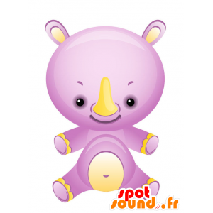 Mascot purple and yellow rhinoceros, beautiful and colorful - MASFR028740 - 2D / 3D mascots