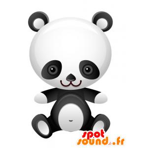 Mascotte de panda noir et blanc, très réussi et mignon - MASFR028741 - Mascottes 2D/3D
