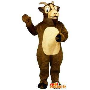 Mascot geit bruin en beige