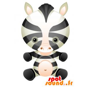 Cebra mascota blanco y negro, con una cabeza redonda - MASFR028743 - Mascotte 2D / 3D
