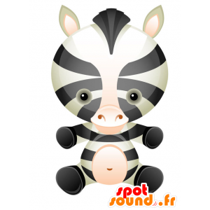 Zebra mascot black and white, with a round head - MASFR028743 - 2D / 3D mascots