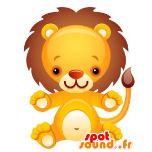 κίτρινο μασκότ λιοντάρι, λευκό και καφέ γίγαντα - MASFR028744 - 2D / 3D Μασκότ