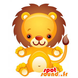 Keltainen leijona maskotti, valkoinen ja ruskea jättiläinen - MASFR028744 - Mascottes 2D/3D