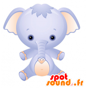 Μασκότ μπλε και ροζ ελέφαντα με ένα πολύ στρογγυλό κεφάλι - MASFR028745 - 2D / 3D Μασκότ