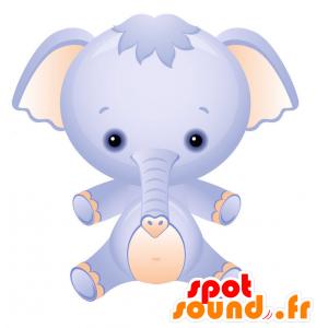 Mascotte d'éléphant bleu et rose avec une tête toute ronde - MASFR028745 - Mascottes 2D/3D