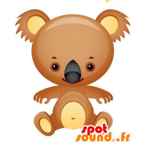 Mascotte marrone e koala giallo, molto successo e sorridente - MASFR028746 - Mascotte 2D / 3D