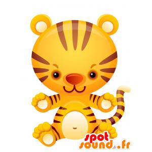 Żółty tygrys maskotka, brązowym i białym. - MASFR028747 - 2D / 3D Maskotki