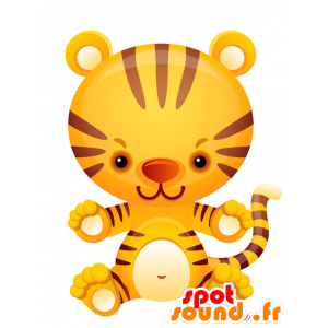 Mascota del tigre amarillo, marrón y blanco. - MASFR028747 - Mascotte 2D / 3D