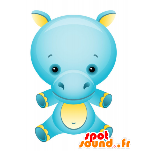 Mascot blue and yellow hippopotamus, colorful and fun - MASFR028748 - 2D / 3D mascots
