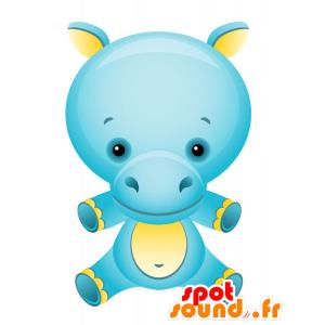 Mascotte d'hippopotame bleu et jaune, coloré et fun - MASFR028748 - Mascottes 2D/3D
