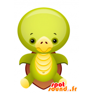 Green and yellow turtle mascot with a brown shell - MASFR028749 - 2D / 3D mascots