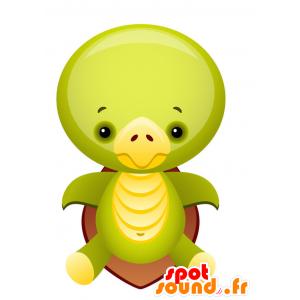 Mascotte tartaruga verde e giallo con un guscio marrone - MASFR028749 - Mascotte 2D / 3D