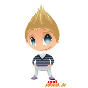 Blond chłopiec maskotka z bardzo niebieskie oczy - MASFR028750 - 2D / 3D Maskotki