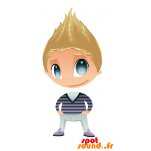 Blonde jongen mascotte met mooie blauwe ogen - MASFR028750 - 2D / 3D Mascottes