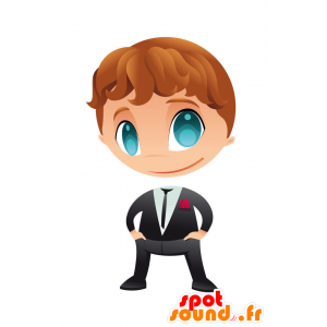 Mascotte de garçon très élégant habillé d'un costume cravate - MASFR028752 - Mascottes 2D/3D