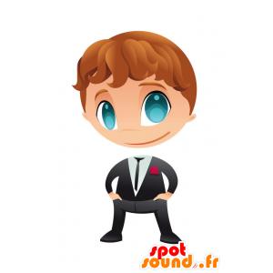 Muy elegante mascota de niño vestido con un traje y corbata - MASFR028752 - Mascotte 2D / 3D