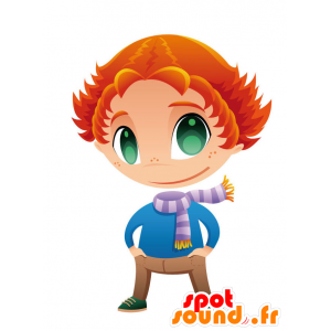 Redhead mascot with green eyes and a scarf - MASFR028754 - 2D / 3D mascots