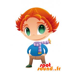Rotschopf Maskottchen mit grünen Augen und einem Schal - MASFR028754 - 2D / 3D Maskottchen