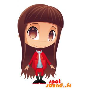 Mascotte Mädchen mit langen braunen Haaren - MASFR028755 - 2D / 3D Maskottchen