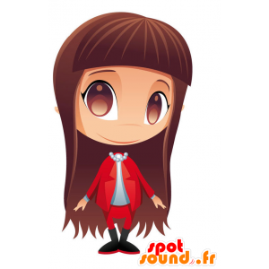 Mascotte girl with long brown hair - MASFR028755 - 2D / 3D mascots