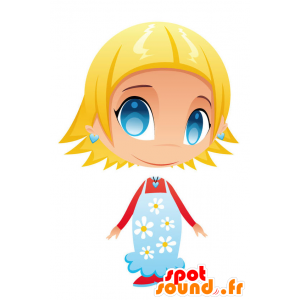 Girl mascot with blue eyes with a flowered dress - MASFR028757 - 2D / 3D mascots