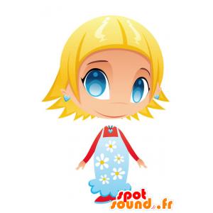 Meisje mascotte met blauwe ogen, met een gebloemde jurk - MASFR028757 - 2D / 3D Mascottes