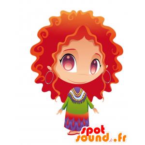 Mascotte de femme rousse avec les cheveux ondulés - MASFR028759 - Mascottes 2D/3D