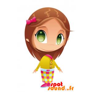 緑の目を持つマスコットのかわいい女の子-MASFR028761-2D / 3Dマスコット