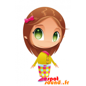 Mascot pretty girl with green eyes - MASFR028761 - 2D / 3D mascots