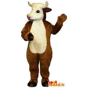Vestito di bianco e marrone mucca