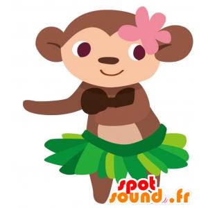 καφέ μασκότ πίθηκος με ένα εξωτικό φούστα - MASFR028762 - 2D / 3D Μασκότ