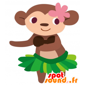 Brown monkey mascot with an exotic skirt - MASFR028762 - 2D / 3D mascots