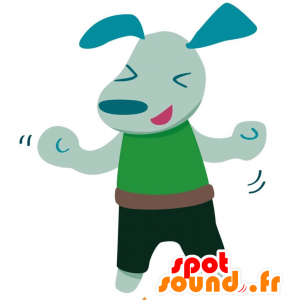 Blue dog mascot dressed in a green outfit - MASFR028763 - 2D / 3D mascots