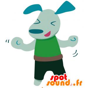 Sininen koira maskotti pukeutunut vihreä asu