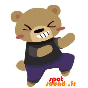 紫と黒の衣装を着た茶色のクマのマスコット-MASFR028764-2D / 3Dマスコット