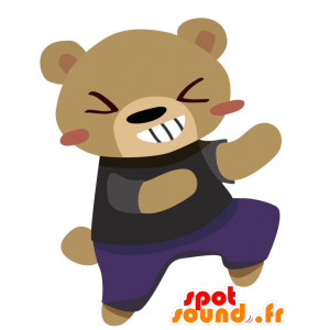 Of brown bear mascot with a purple dress and black - MASFR028764 - 2D / 3D mascots