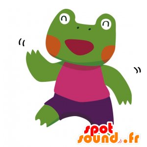 Green frog mascot with a colorful outfit - MASFR028765 - 2D / 3D mascots