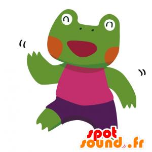 Grüner Frosch-Maskottchen mit einem bunten Outfit - MASFR028765 - 2D / 3D Maskottchen