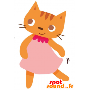 Orange cat mascot dressed in a pink dress - MASFR028766 - 2D / 3D mascots