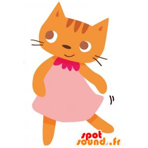 Oranssi kissa maskotti pukeutunut vaaleanpunainen mekko