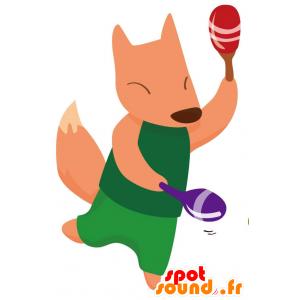 緑に身を包んだオレンジキツネのマスコット-MASFR028767-2D / 3Dマスコット