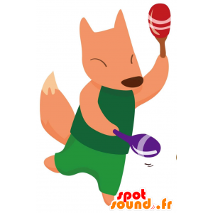 Orange Fuchs im grünen Maskottchen gekleidet - MASFR028767 - 2D / 3D Maskottchen