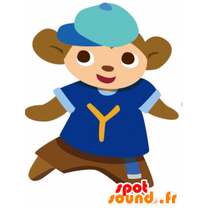 Brown monkey mascot with a blue sports jersey - MASFR028769 - 2D / 3D mascots