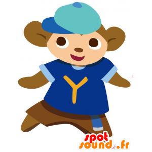 Ruskea apina maskotti sininen urheilu jersey