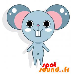 Blau und rosa Maskottchen-Maus mit großen Ohren - MASFR028771 - 2D / 3D Maskottchen