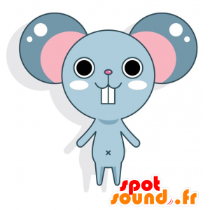 Blue and pink mascot mouse with big ears - MASFR028771 - 2D / 3D mascots