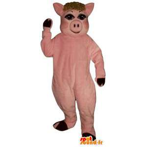Pink pig mascot. Costume sow