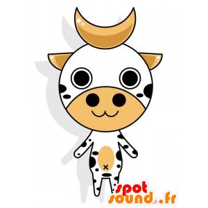 角のあるマスコットの白と黒の牛-MASFR028772-2D / 3Dマスコット