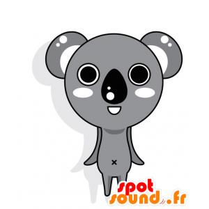 Mascot harmaa koala, valkoinen ja musta jättiläinen