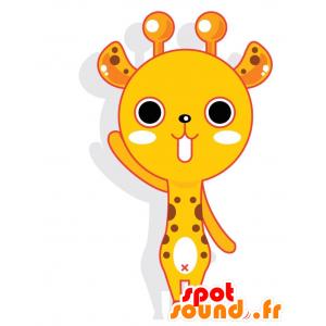 Keltainen ja valkoinen kirahvi maskotti ruskea tehtäviä